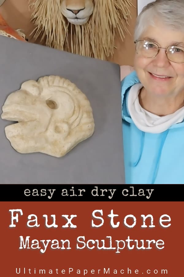 Faux Stone Mayan Sculpture Made with DIY Air Dry Clay