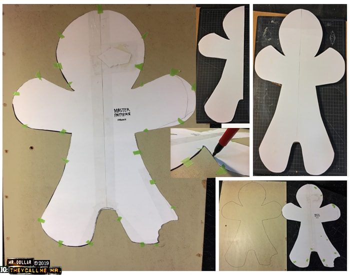 Cutting the pattern for the Giant Ginger Man
