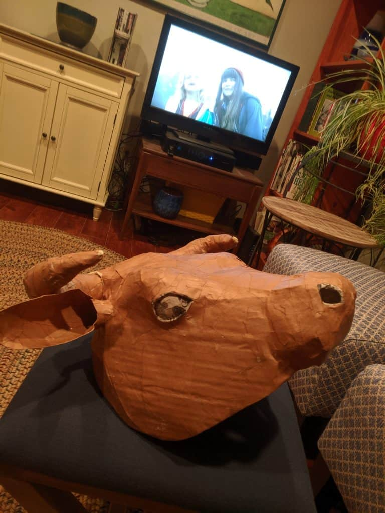 Paper Mache Cow Head sculpture.