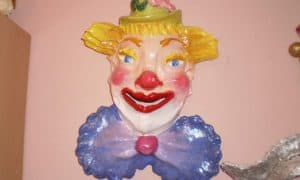 Clown wall sculpture made with Celluclay