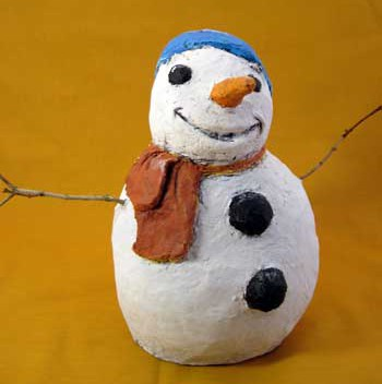 Snowman Made with Paper Mache Clay