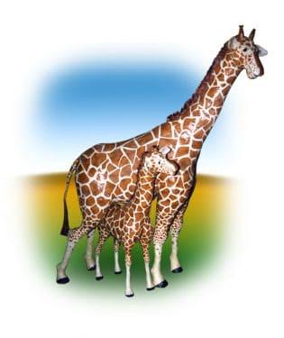 Paper mache giraffe family