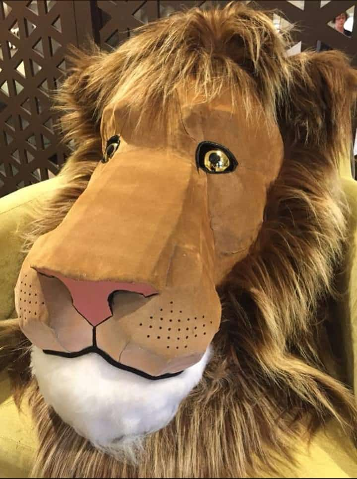 big paper mache lion head