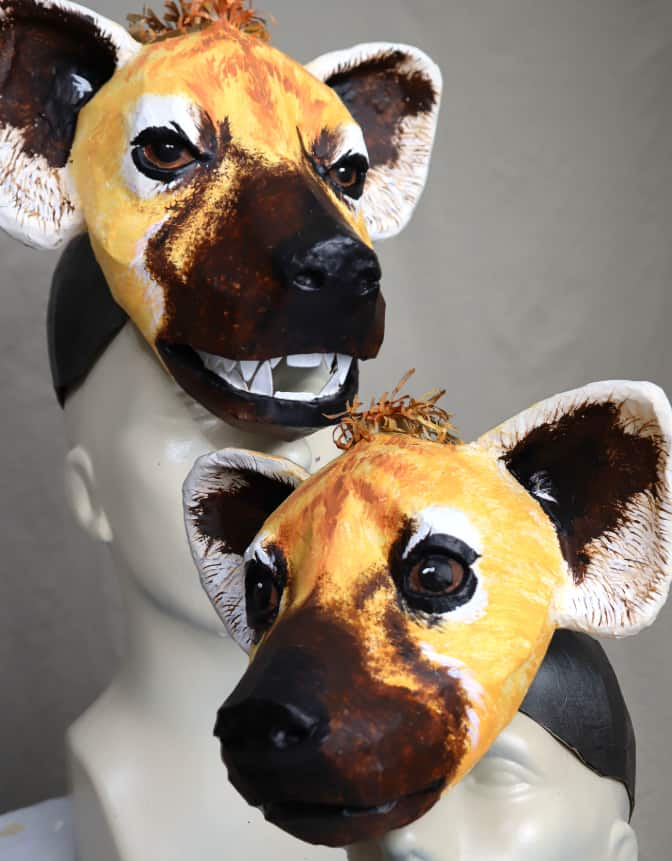 Hyena headdress mask pattern for paper mache
