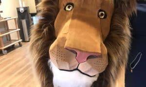 lion covered in flocked denim