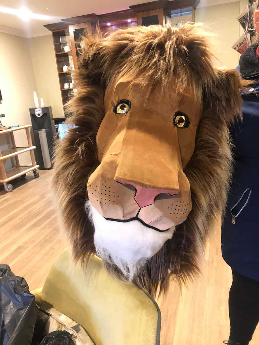lion covered in flocked denim