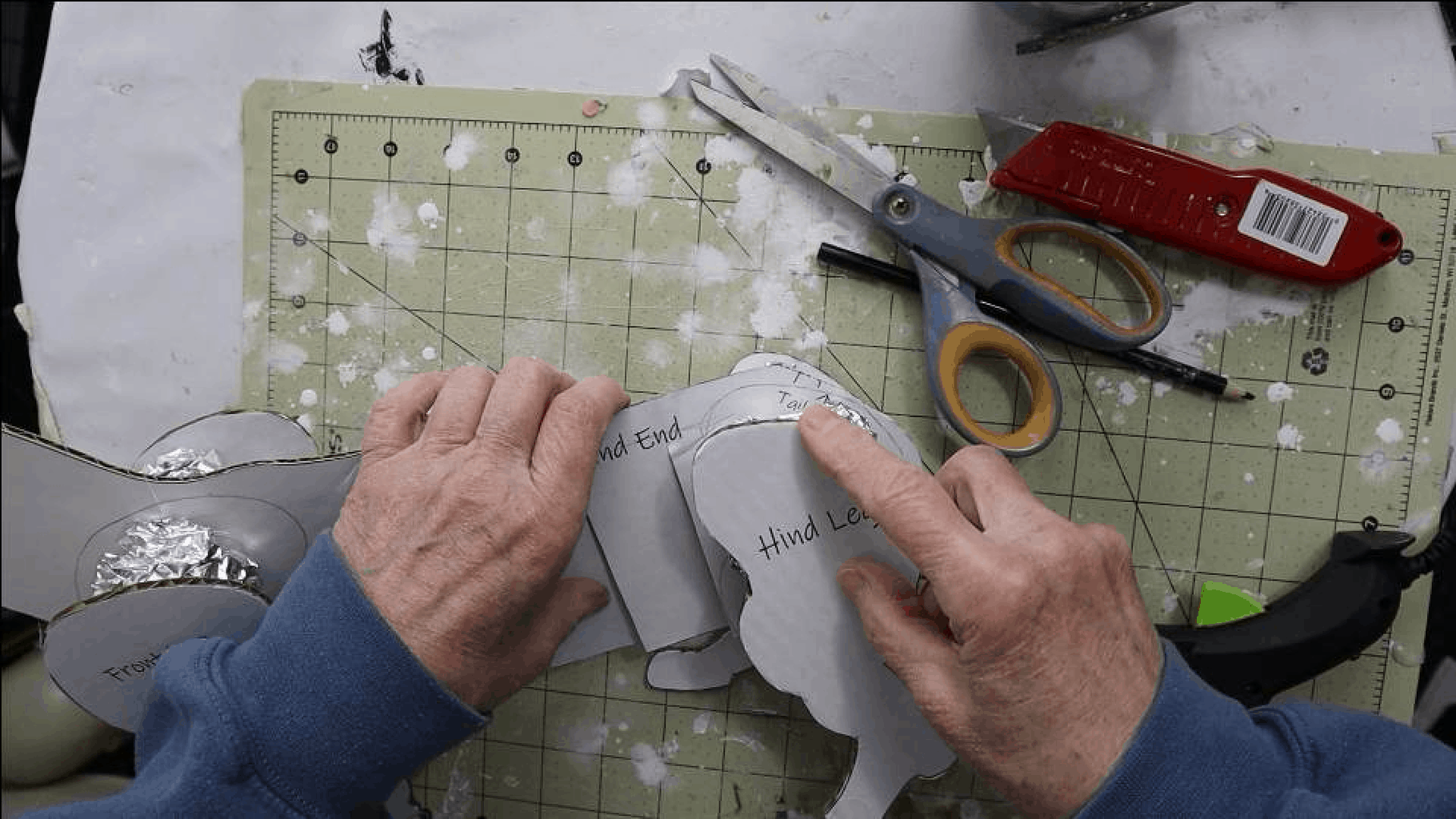 Glue the legs onto your Basset Hound pattern