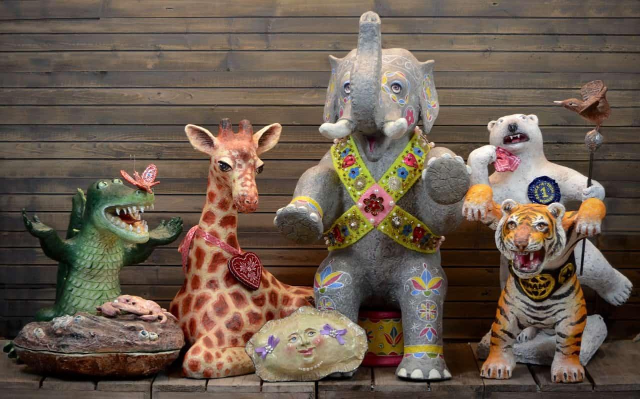 paper mache zoo animals