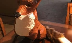 Fox sculpture made with paper mache clay