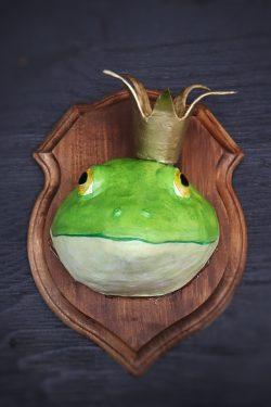 Paper mache King bullfrog wall sculpture