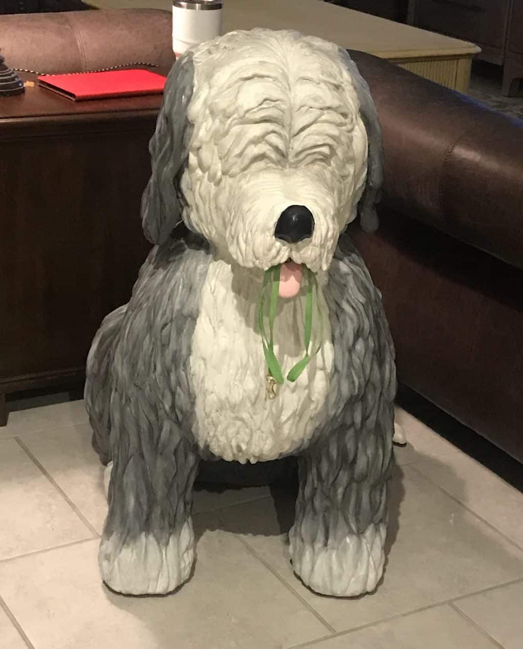 Shaggy Dog Paper Mache Sculpture