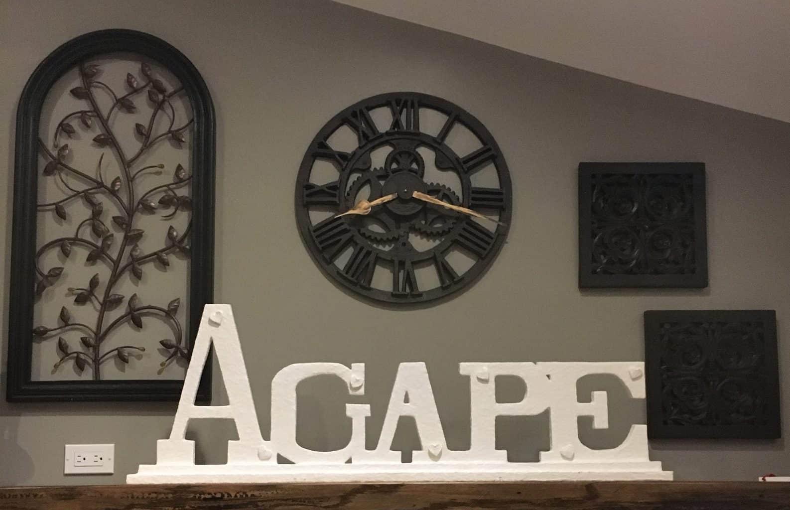 Paper Mache letters, Agape