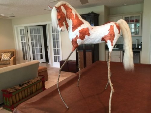 Paper Mache Horse with Wool Mane