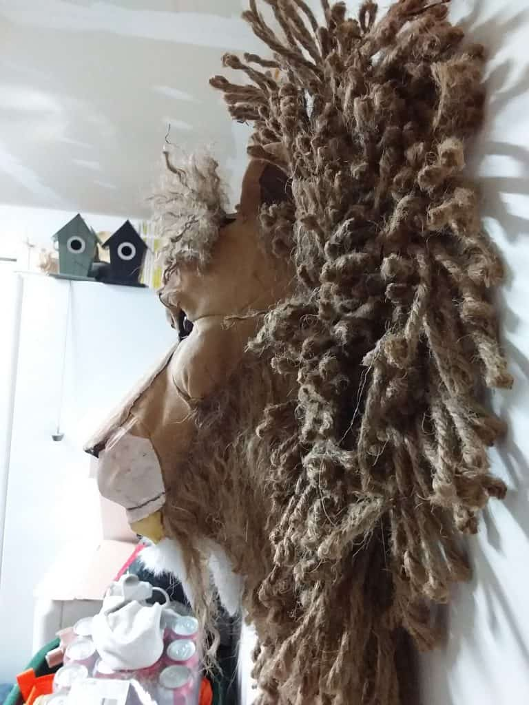 Lion Head with Jute Mane from the Side