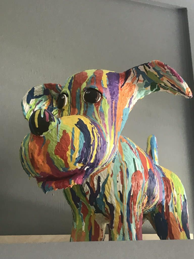 Brightly Painted Paper Mache Dog