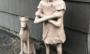 Outdoor Sculpture of Girl and Dog