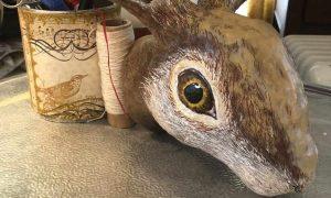 Painted Rabbit Sculpture