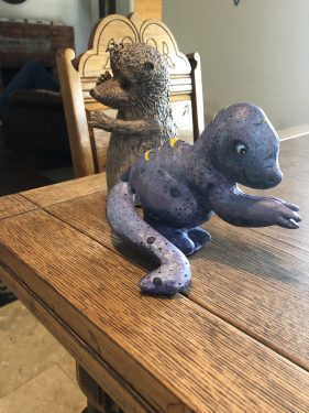 Hedghog and Dinosaur made with Paper Mache Clay