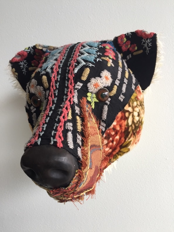 Fabric embroidery Bear sculpture