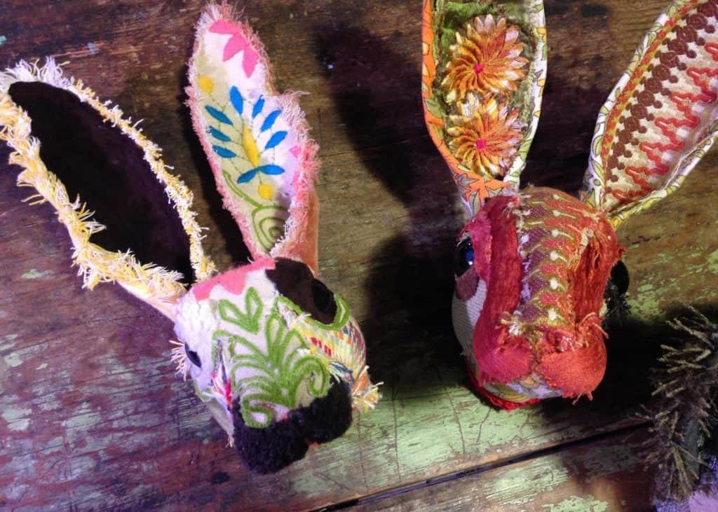 Fabric Jackrabbits sculptures