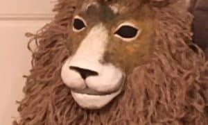 Paper mache lion mask with jute mane