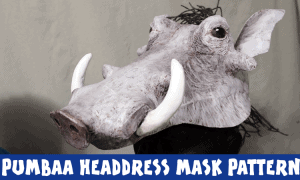 Pumbaa headdress mask pattern featured