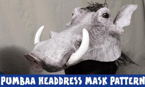 Pumbaa headdress mask pattern featured