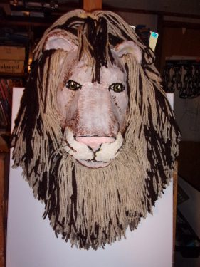 Paper Mache Lion Wall Sculpture