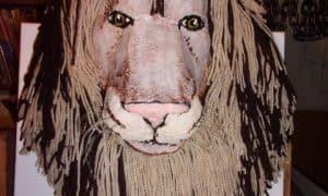 Paper Mache Lion Wall Sculpture
