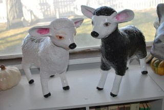Lambs made with paper mache clay
