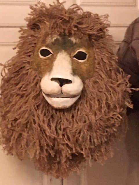 Paper mache lion mask