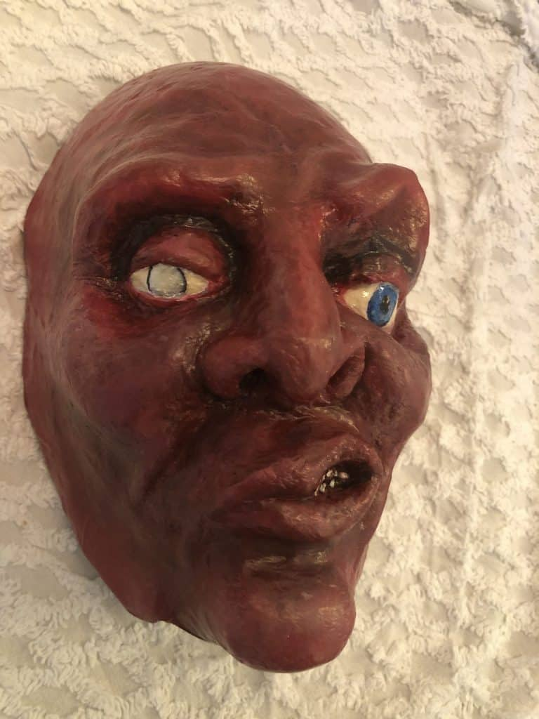 Creepy Mask Made with Paper Mache Clay2