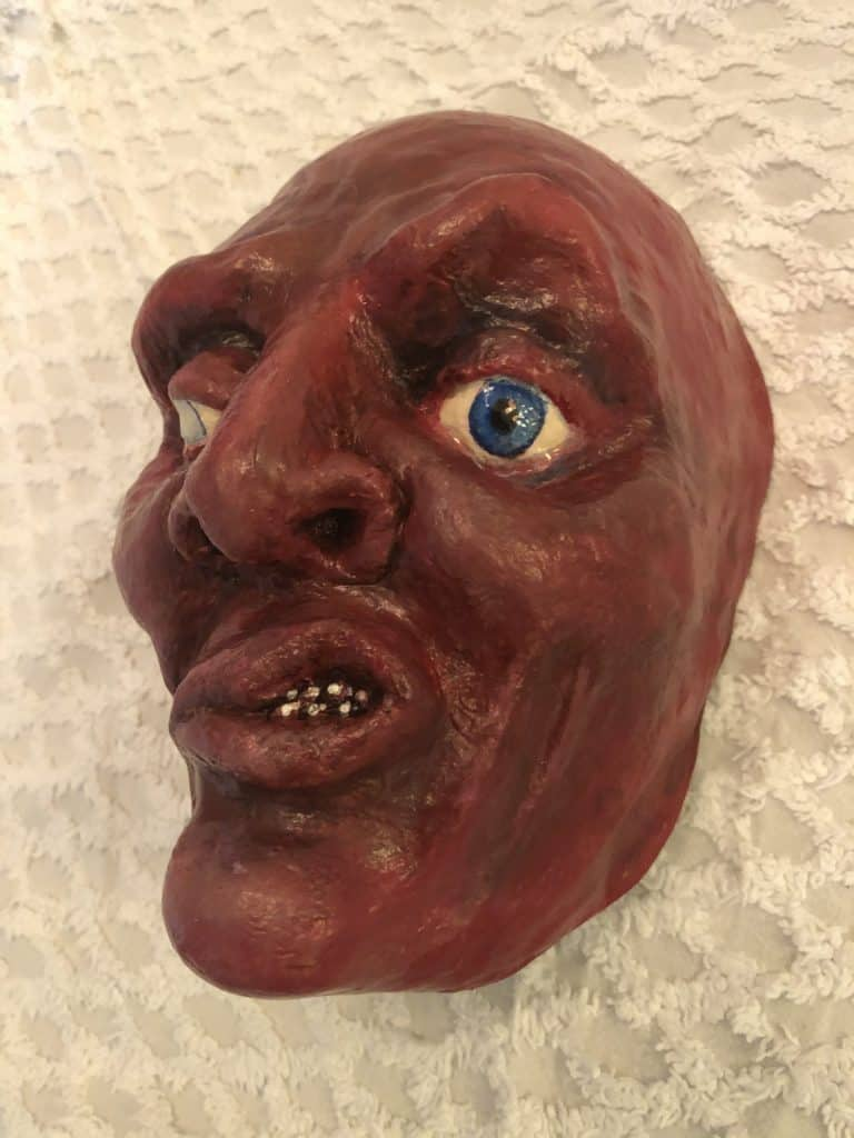 Creepy Mask Made with Paper Mache Clay3