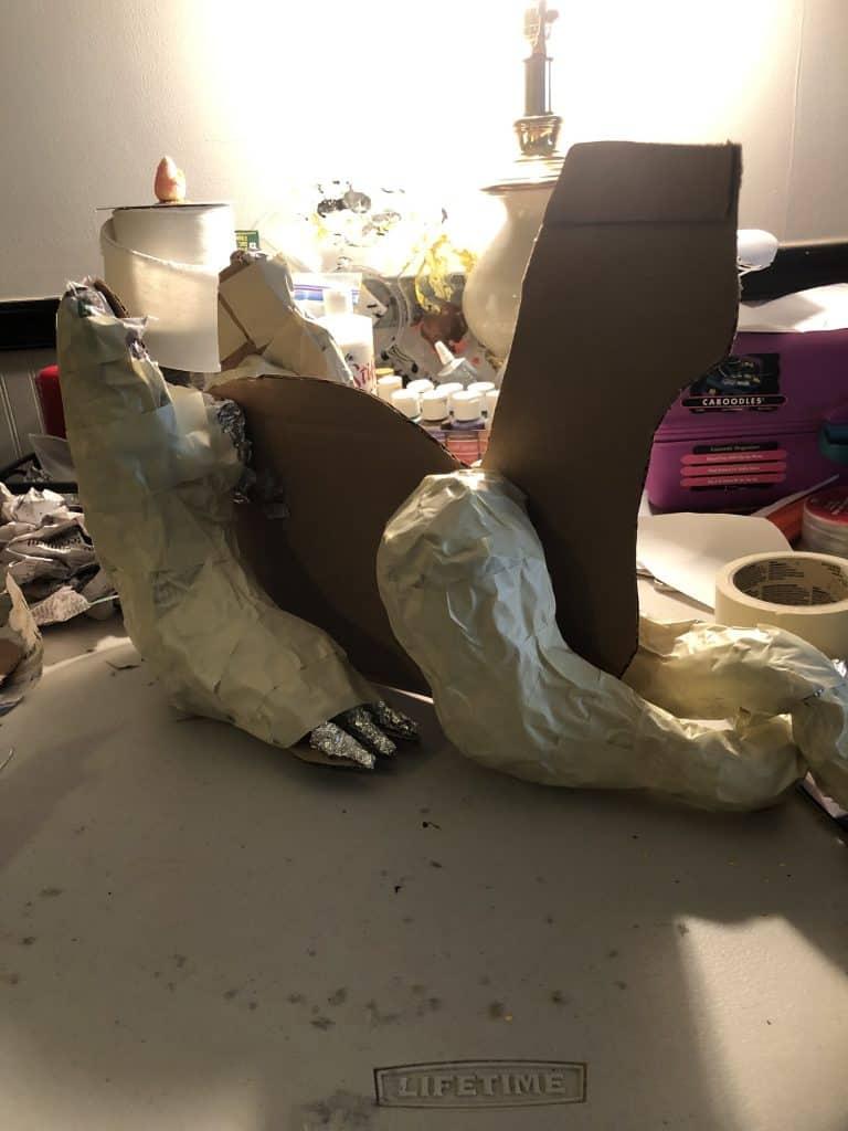 paper mache dragon armature started.