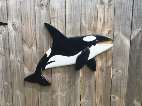 Orca sculpture for gate