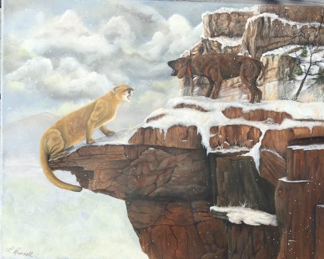 Stand-Off Painting of Mountain Lion by Linda Bunnell