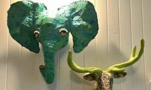 Paper mache faux trophy elephant