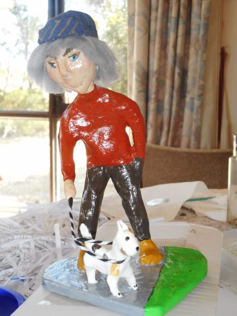 Figure sculpture after adding calcium carbonate and glue - and paint