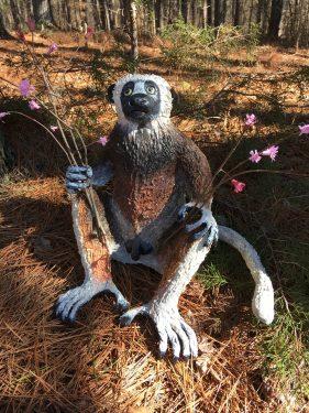 Sifaka lemur paper mache sculpture