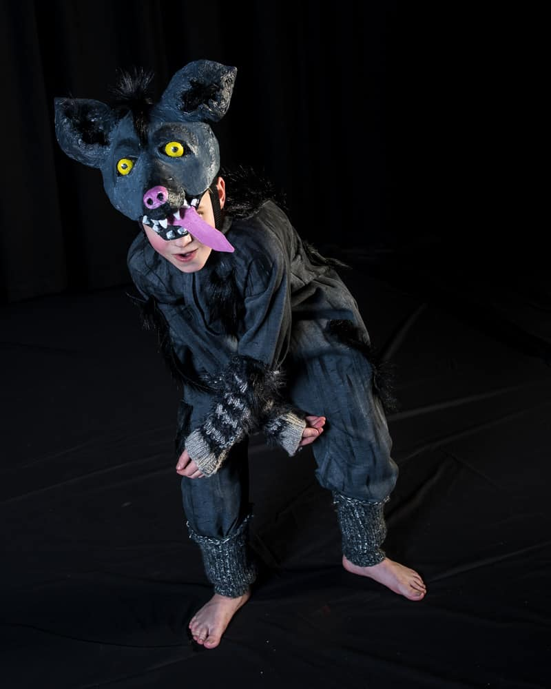 Hyena costume on stage