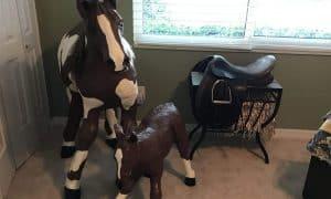 Paper mache mare and colt
