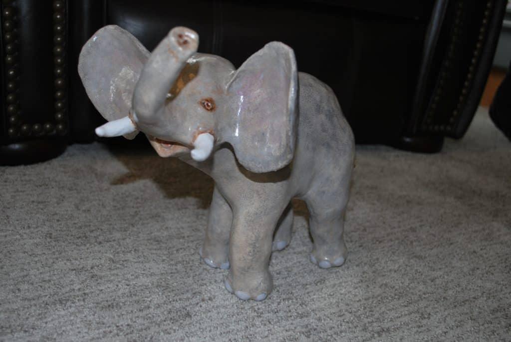 Paper mache clay elephant