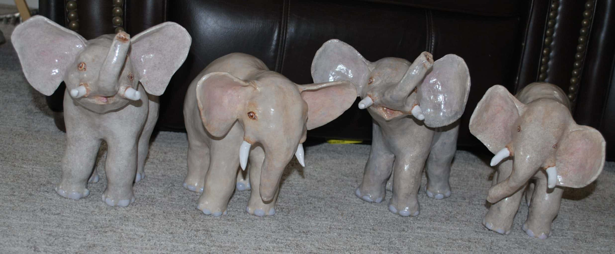 Elephants made with paper mache clay