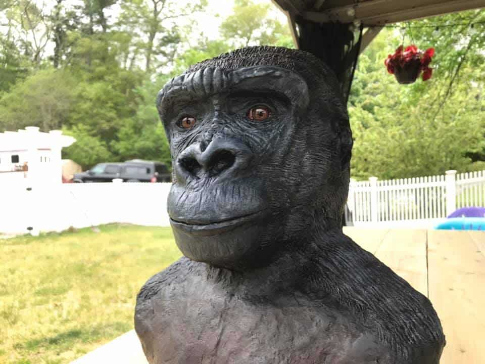 Gigi the Gorilla - portrait in paper mache clay