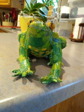 Sir Engelbert Hopperdink paper mache frog