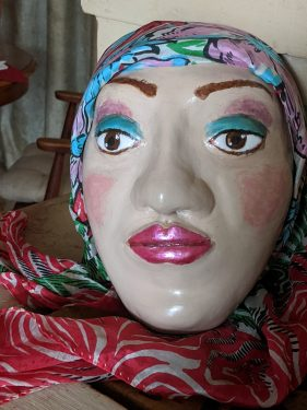 Face sculpture made withy paper mache clay
