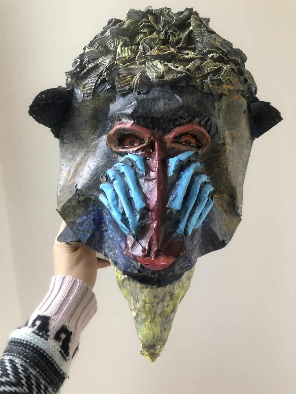 Paper mache Rafiki mask