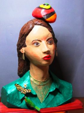 Nature Girl sculpture with paper mache clay
