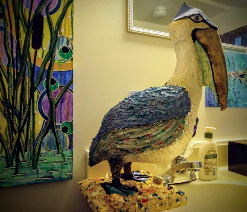 Stork made with paper mache clay