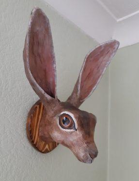 """Jackrabbit """"faux trophy"""" sculpture"""